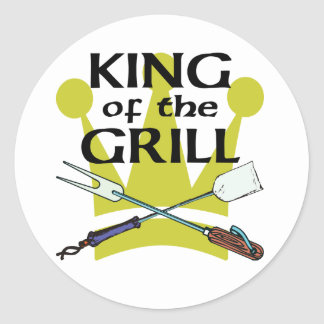 King of the Grill Round Sticker