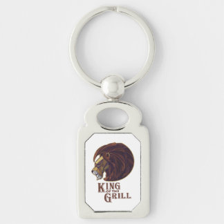 King of the Grill Silver-Colored Rectangle Key Ring
