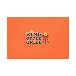 King of the grill stretched canvas print