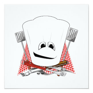 King of the Grill with Chef Hat and BBQ Tools 13 Cm X 13 Cm Square Invitation Card