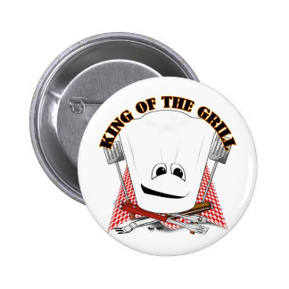 King of the Grill with Chef Hat and BBQ Tools Button