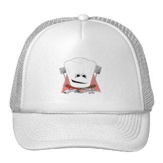 King of the Grill with Chef Hat and BBQ Tools Hats
