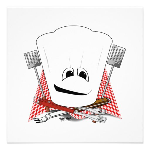 King of the Grill with Chef Hat and BBQ Tools Custom Invitations