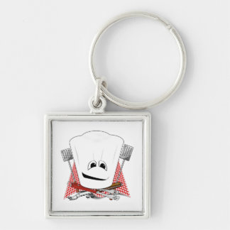 King of the Grill with Chef Hat and BBQ Tools Keychains