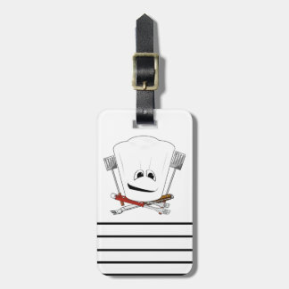 King of the Grill with Chef Hat and BBQ Tools Luggage Tag