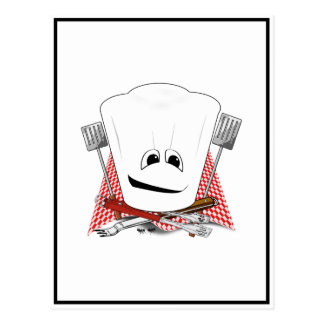 King of the Grill with Chef Hat and BBQ Tools Postcards