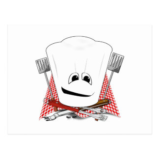 King of the Grill with Chef Hat and BBQ Tools Post Cards
