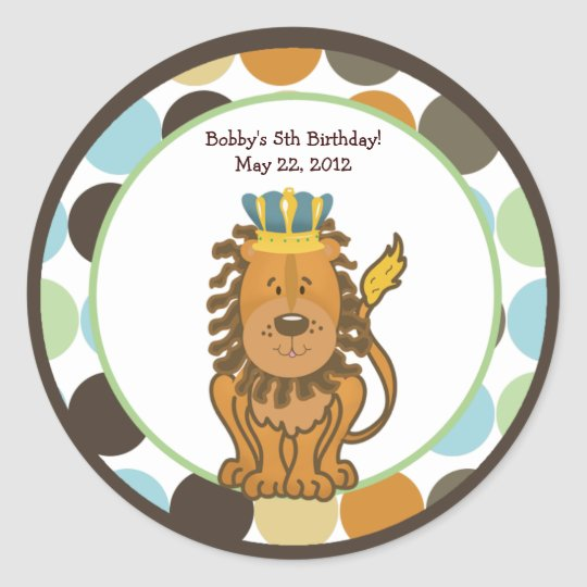 King of the Jungle Round Custom Favour Sticker