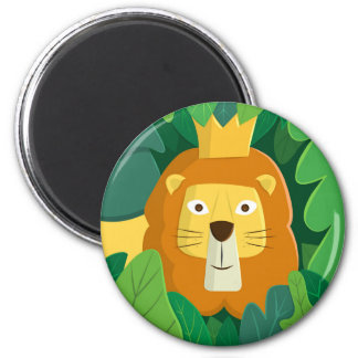 King of the Jungle Round Magnet