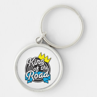 KING of the Road Silver-Colored Round Key Ring