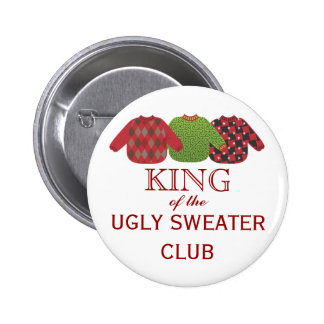 King of the Ugly Sweaters Holiday Button