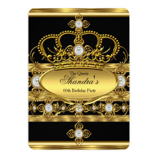 King or Prince Royal Gold Diamond Crown Party 13 Cm X 18 Cm Invitation Card
