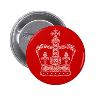 King or Queen Crown 6 Cm Round Badge
