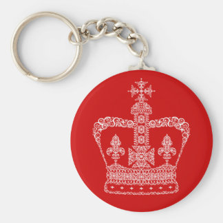 King or Queen Crown Basic Round Button Key Ring