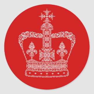 King or Queen Crown Classic Round Sticker