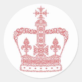 King or Queen Crown Round Sticker