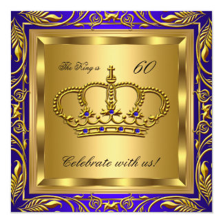 King or Queen Royal Blue Gold Birthday Party 13 Cm X 13 Cm Square Invitation Card