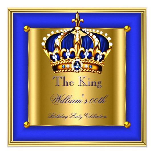 King or Queen Royal Blue Gold Crown Birthday