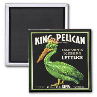 KING PELICAN ICEBERG LETTUCE - VINTAGE CRATE LABEL SQUARE MAGNET