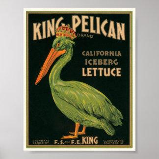 King Pelican Lettuce Vintage Crate Label Poster