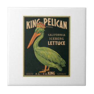 King Pelican Lettuce Vintage Crate Label Ceramic Tile