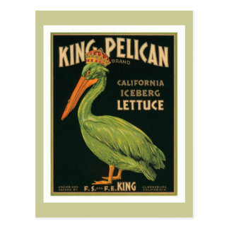 King Pelican Vintage Label Postcard