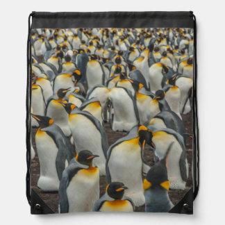 King penguin colony, Falklands Drawstring Bag