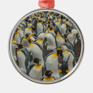 King penguin colony, Falklands Silver-Colored Round Decoration
