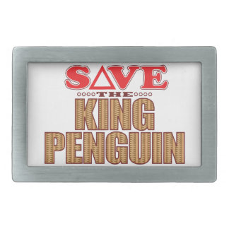 King Penguin Save Rectangular Belt Buckle