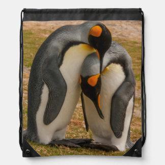 King penguins caressing, Falkland Drawstring Bag