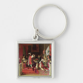 King Philip V  of Spain Silver-Colored Square Key Ring