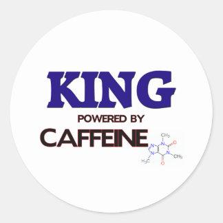 King Powered by caffeine Round Stickers