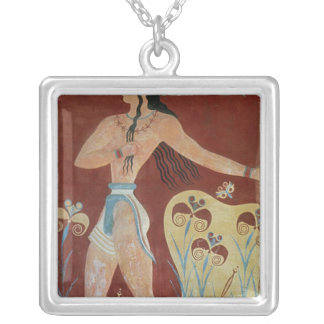 King-Priest or Prince with Lilies Silver Plated Necklace