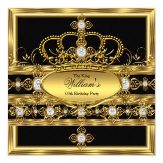 "King Prince Queen Royal Gold Diamond Crown Party 5.25"" Square Invitation Card"