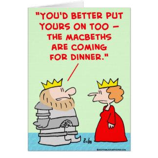 king queen armor macbeths dinner shakespeare card