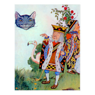 King & Queen of Hearts, Alice & the Cheshire Cat Postcard
