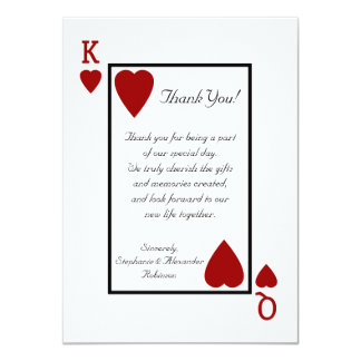 King/Queen Playing Card Thank You Notes 11 Cm X 16 Cm Invitation Card