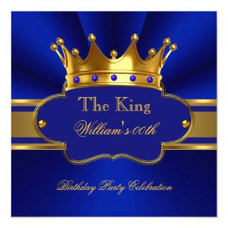 King Royal Blue Gold Birthday Party Mens Mans 13 Cm X 13 Cm Square Invitation Card