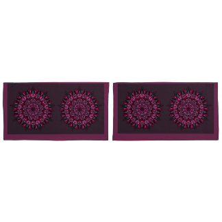 King Size Pillow Cases Dark Pink Mandala Design