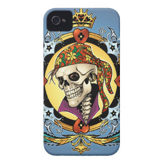 King Skull Pirate with Hearts by Al Rio iPhone 4 Cases