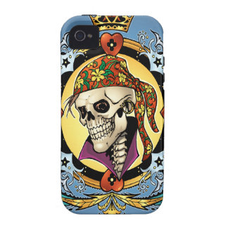 King Skull Pirate with Hearts by Al Rio iPhone 4/4S Case