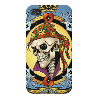 King Skull Pirate with Hearts by Al Rio Cover For iPhone 4