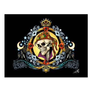 King Skull Pirate with Hearts by Al Rio Postcard