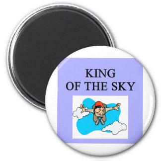 king sky diver skydiving 6 cm round magnet