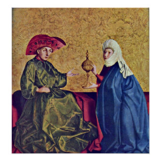 King Solomon and Queen of Sheba by Konrad Witz Poster