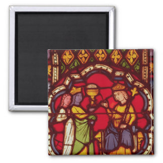 King Solomon and the Queen of Sheba, c.1270 Square Magnet