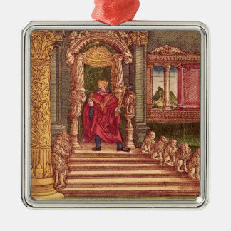 King Solomon on his throne, 1st Edition Silver-Colored Square Decoration