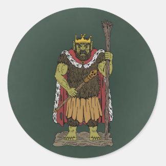 King Troll Round Sticker