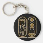King Tut  Hieroglyphics Basic Round Button Key Ring