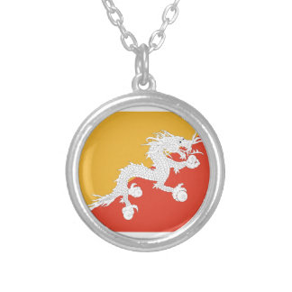 Kingdom of Bhutan flag, dragon fire Silver Plated Necklace